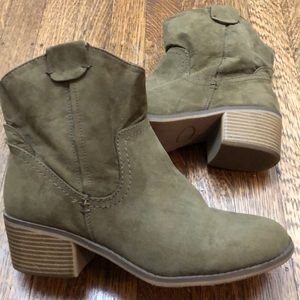 Green heeled booties (size 9.5)